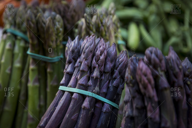Bunches of purple asparagus for sale at a market stall in Bologna, Italy.