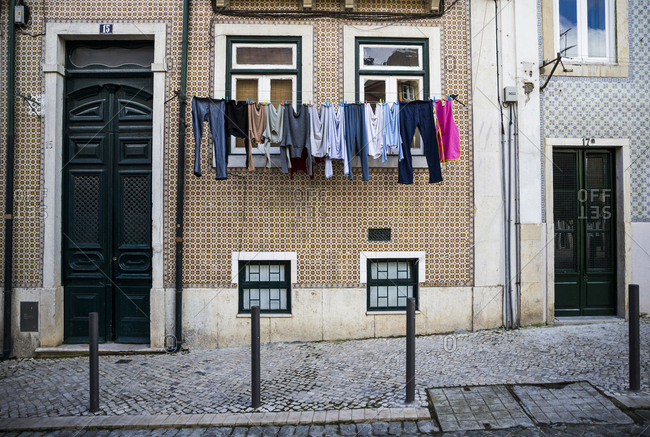 March 29, 2016: Laundry hanging in Lisbon, Portugal.