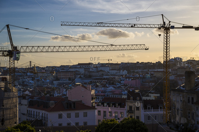 March 31, 2016: View of Lisbon rooftops in Lisbon, Portugal.