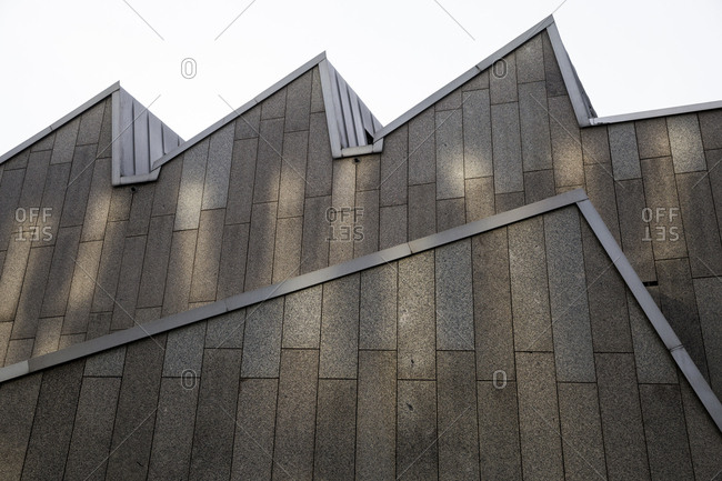 February 19, 2018: Concrete detail at the Berliner Philarmonei in Berlin, Germany.