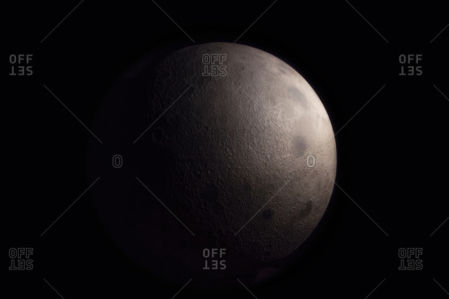 Moon in a black night sky