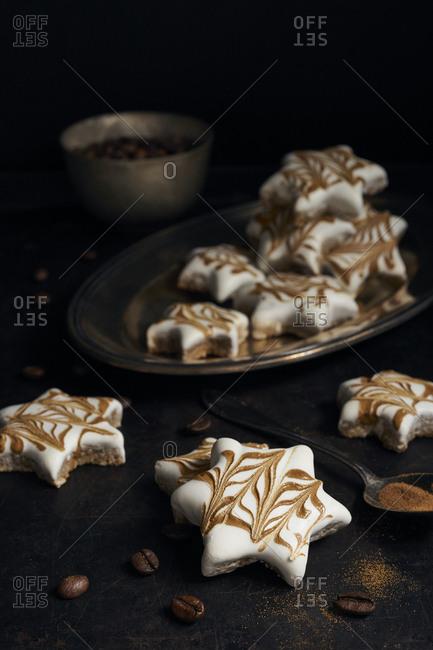 Homemade cinnamon stars with espresso for christmas