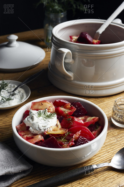 Winter vegetable stew with beetroot and white cabbage