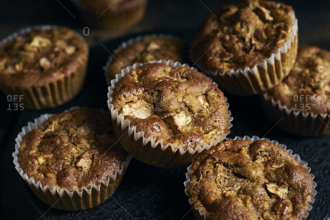 Homemade whole-grain apple muffins with coconut sugar and spices