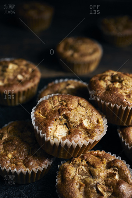 Close-up of whole-grain apple muffins with coconut sugar and spices