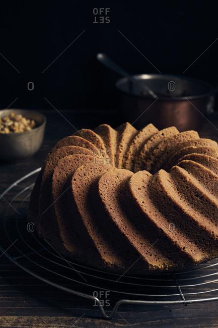Hazelnut bundt cake before being garnished with chocolate ganache and chopped hazelnuts