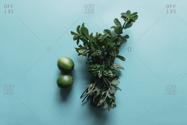 High angle view of mint leaves and lemons on blue background