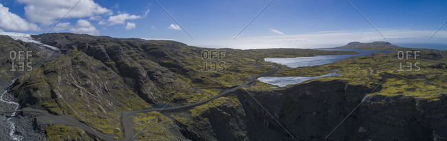 Panoramic view of rocky mountains against sky, Iceland
