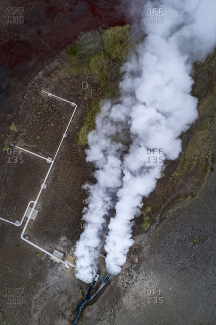 Aerial view of smoke over landscape, Myvatn, Iceland