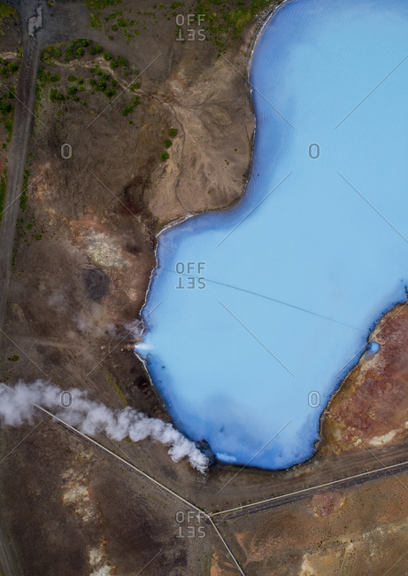 Drone view of smoke by lake, Myvatn, Iceland