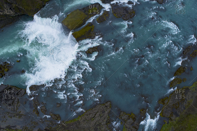 Aerial view of waterfall, Gooafoss, Iceland