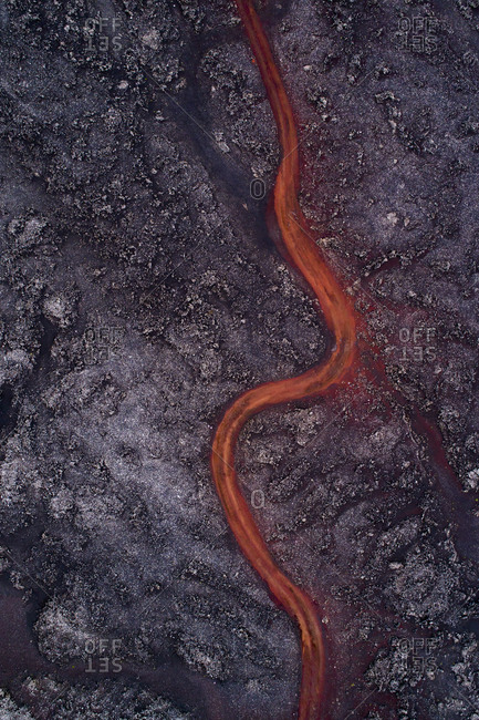 Aerial view of lava flowing through rock formation, Kverkfjoll, Iceland