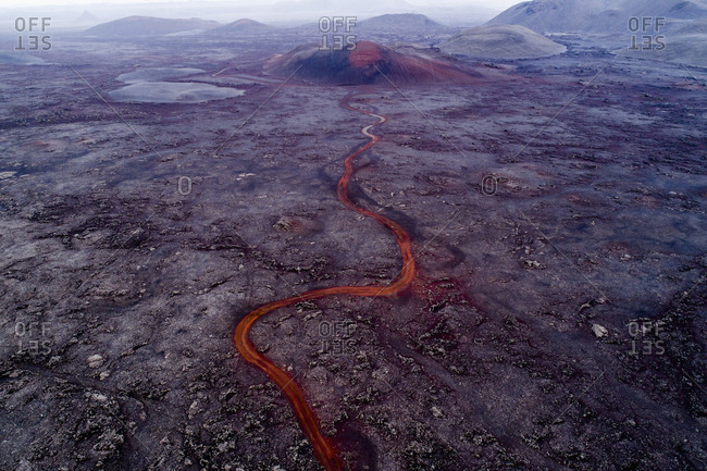 Aerial view of volcano and lava flowing through landscape, Kverkfjoll, Iceland