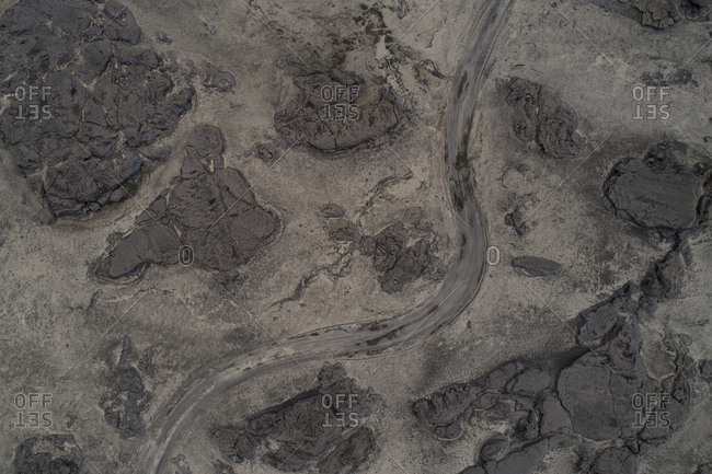 Aerial view of dirt road on barren landscape, Kverkfjoll, Iceland