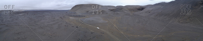 Panoramic view of car on road against sky, Kverkfjoll, Iceland
