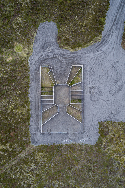 Aerial view of built structure on field, Highlands, Iceland