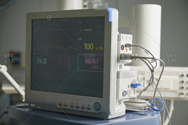 Close-up of monitoring equipment in hospital ward