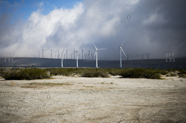 Wind turbines growing out of the arid terrain of Palm Springs, California