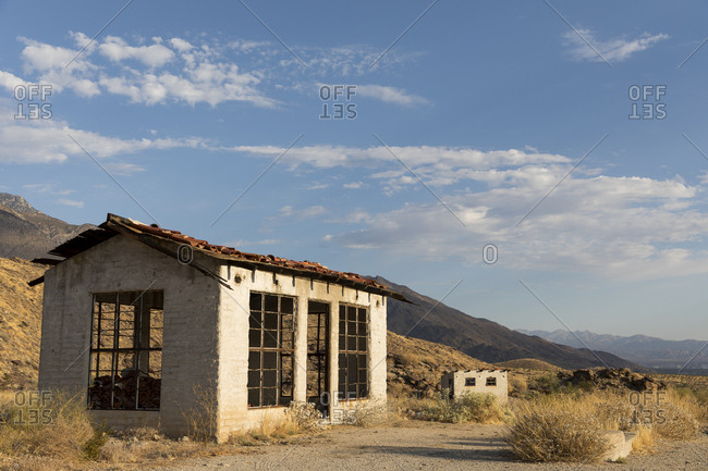 Skeleton of a derelict building in the desert in Palm Springs, California