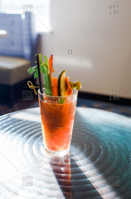 Bloody Mary drink garnished with fresh vegetables