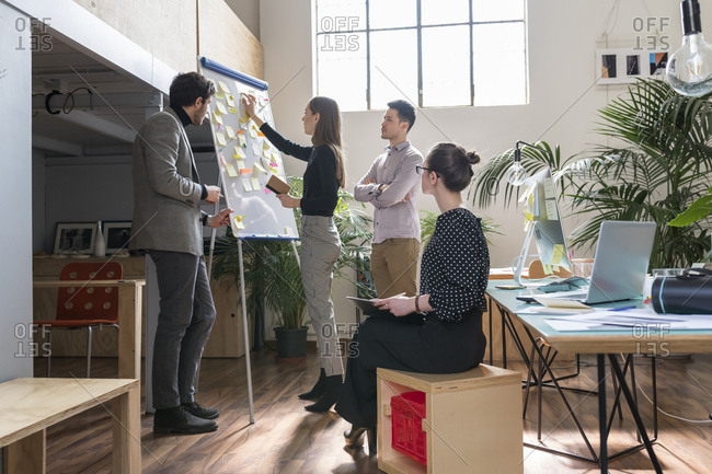 Businesswoman explaining to colleagues in office