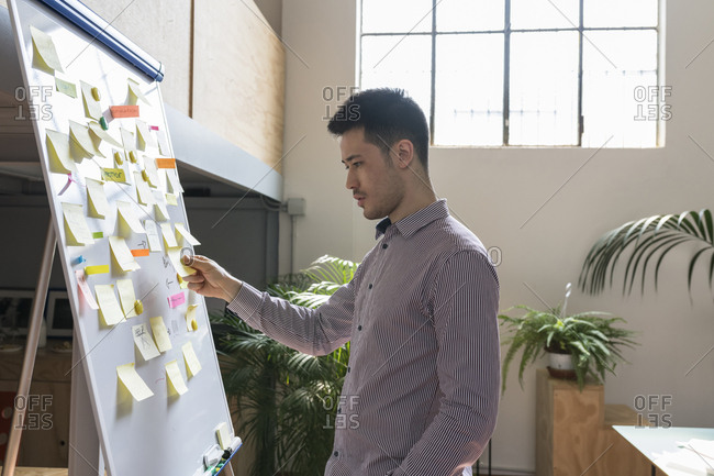 Businessman examining adhesive notes on whiteboard in office