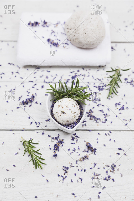 Lavender blossom and rosemary soap ball with natural pumice stone and towel