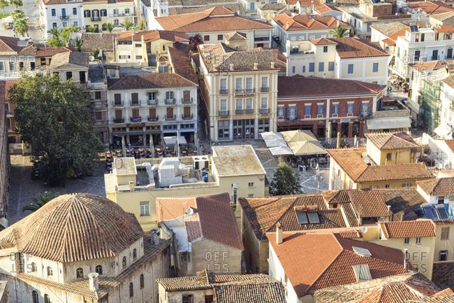 June 24, 2016: Greece- Peloponnese- Argolis- Nauplia- Old town- Syntagma square and Vouleftiko Mosque