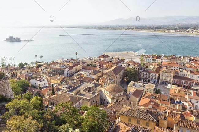 Greece- Peloponnese- Argolis- Nauplia- Argolic Gulf- Old town- View from Akronauplia to Bourtzi Castle
