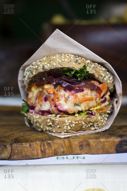 Veggie burger in a stall in borough market, london, england