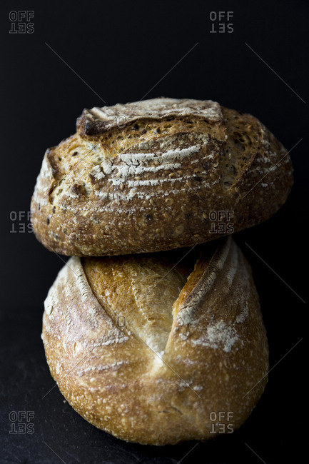 Stacked loaves of bread, still life