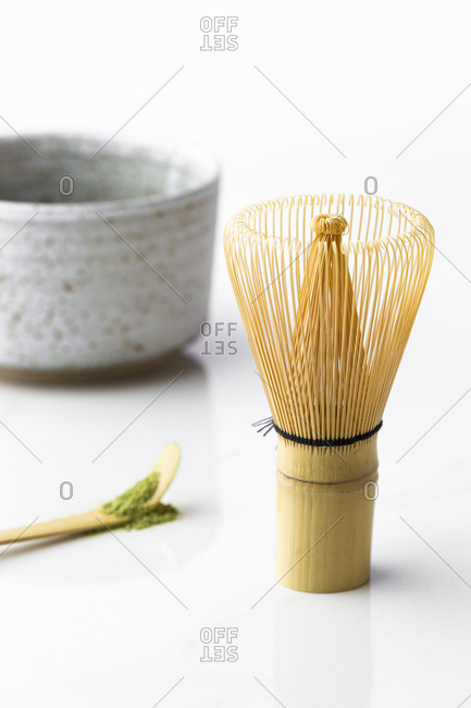 Matcha green tea spoon, bowl, and bamboo whisk