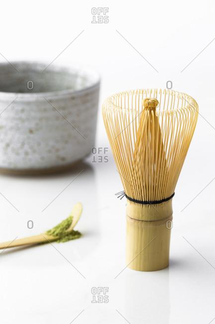 Matcha green tea spoon, bowl, and bamboo whisk