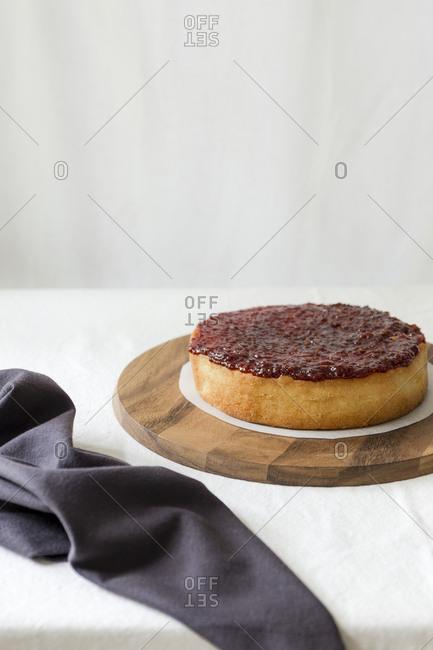 Jam on sponge cake