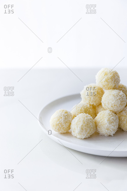Coconut truffles on a plate