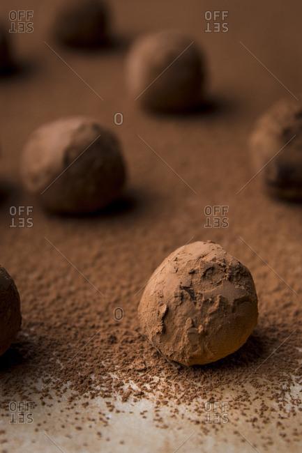 Chocolate rum truffle balls, dark