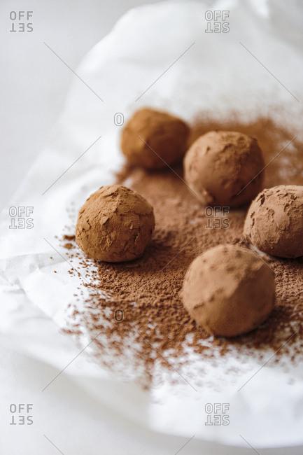 Chocolate rum truffle balls, bright