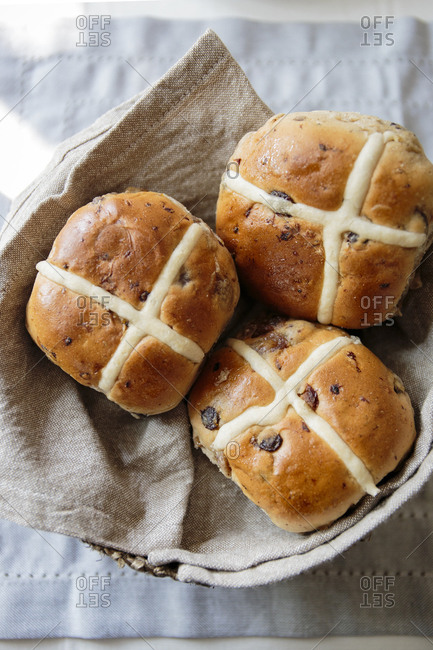 Basket of hot cross buns