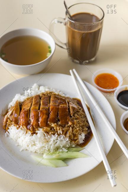 Singaporean duck rice with tetarik in a hawker