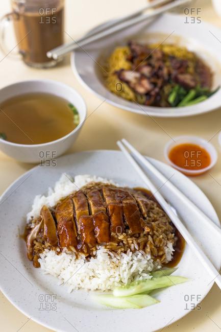 Singaporean duck rice at a hawker centre