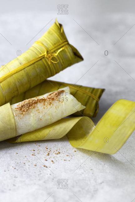 Suman with muscovado sugar, Philippine rice cake snack