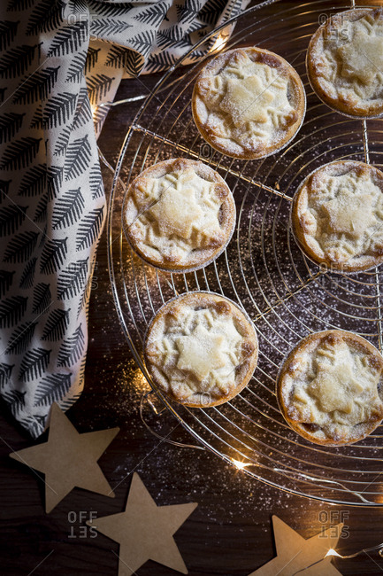 Mince pies on a cooling rack