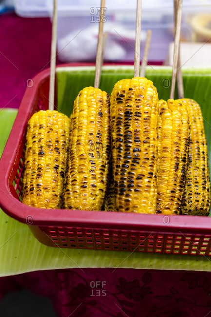 Grilled corn in a cob in the farmer's market, Manila, Philippines