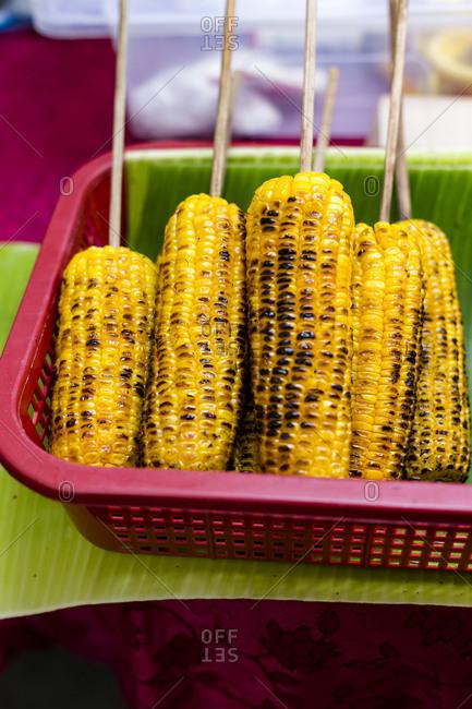 Grilled corn in a cob in the farmer's market, Manila, Philippines