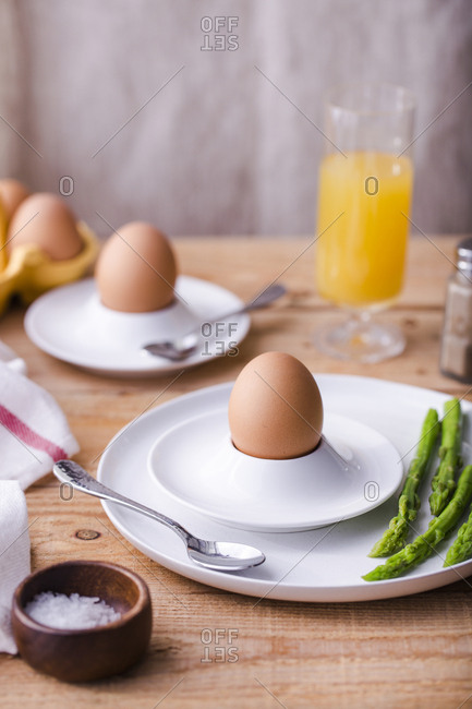 Soft boiled eggs with asparagus for breakfast