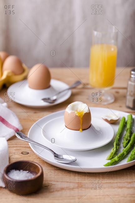 Soft boiled egg with oozing yolk