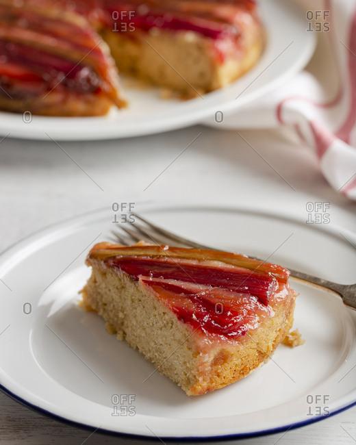 Slice of rhubarb upside down cake