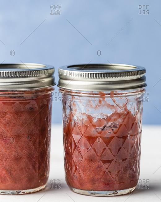 Sealed rhubarb jam jars