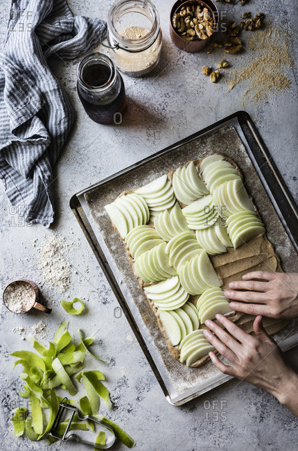 Preparation and cooking of a maple buckwheat apple galette with walnut frangipane