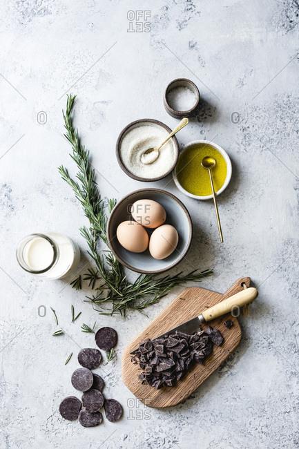Ingredients for chocolate pots de creme